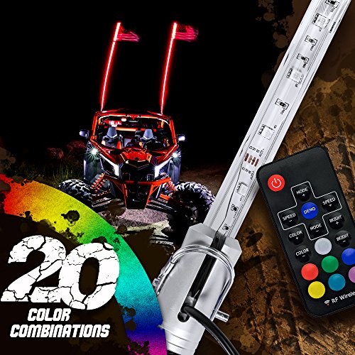 OLS 4ft LED Whip Lights w/ Flag [21 Modes] [20 Colors] [Wireless Remote] [Weatherproof] Lighted Antenna Whips - Accessories for ATV Polaris RZR 4 Wheeler
