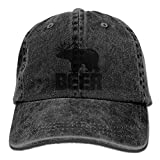 Fat Bear Deer Adjustable Adult Cowboy Cotton Denim Hat Sunscreen Fishing Outdoors Retro Visor Cap