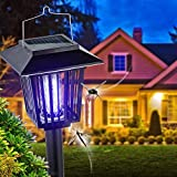 New & Improved Solar Powered Zapper- Enhanced Outdoor Flying Insect Killer- Hang or Stake in the Ground- Cordless Garden Lamp- Portable LED Machine- Best Stinger for Mosquitoes/ Moths/ Flies (Black)
