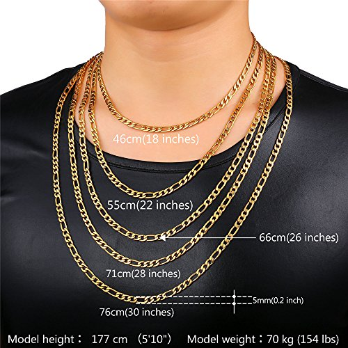 U7 stainless steel chain 5mm men women necklace figaro chain length mozeypictures Image collections