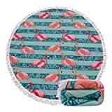 Genovega (23 Options Thick Round Beach Towel Blanket - Cute Flamingo Large Microfiber Terry Beach Roundie Circle Picnic Carpet Yoga Mat with Fringe for Women 2,High Color fastness