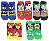 DC Comics Justice League Characters Flash Batman Superman 5 Pack Ankle Socks