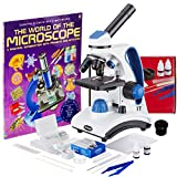 AmScope Awarded 2017 Best Student Microscope 40X-1000X Dual Light Optical Glass Lens All-Metal Framework Student Microscope + Microscope Prepared and Blank Slides