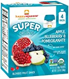 Happy Squeeze Organic Superfoods, Organic Apple Blueberry Pomegranate, 3.17 Ounce (Pack of 16)