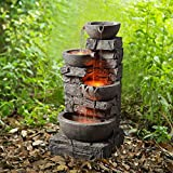 Peaktop 201601PT Outdoor Garden Water Stacked 3 Tier Bowls Waterfall Fountain with LED Light, 33' Height, Stone Grey