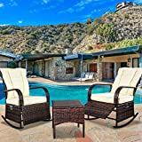 SCYL Color Your Life Set of 2 Indoor & Outdoor PE Wicker Rocking Chair Porch Garden Lawn Deck Auto Adjustable Rattan Reclining chiar Patio Furniture w/Water-Proof Cushion and Coffee Table