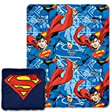 "DC Comics Superman, ""Metropolis Shield"" 14-Inch 3D Pillow and 40"" x 50"" Fleece Throw in Pocket Set, Multi Color"