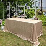 B-COOL Rectangular 90X132-inch Champagne Blush Sequin Tablecloth for Halloween Thanksgiving Day Party