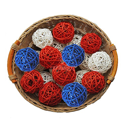 ALLHEARTDESIRES 15PCS Mixe Red Royal Blue White Natural Rattan Ball July 4th Patriotic Themed Party Wedding Birthday Shower Centerpieces Hanging Ornament