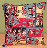 "Superman Pillow Classic DC Comics Pillow Super-Man Pillow HANDMADE in USA Pillow is approximately 10"" X 11"