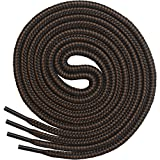 Miscly Round Boot Laces [3 Pairs] Heavy Duty and Durable Shoelaces for Boots, Work Boots & Hiking Shoes (54', Black - Brown Combo)