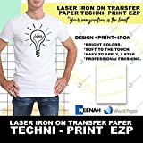 Laser Heat Transfer Paper, for Light Fabric - Techni Print EZP- 10 Sheets - 8.5