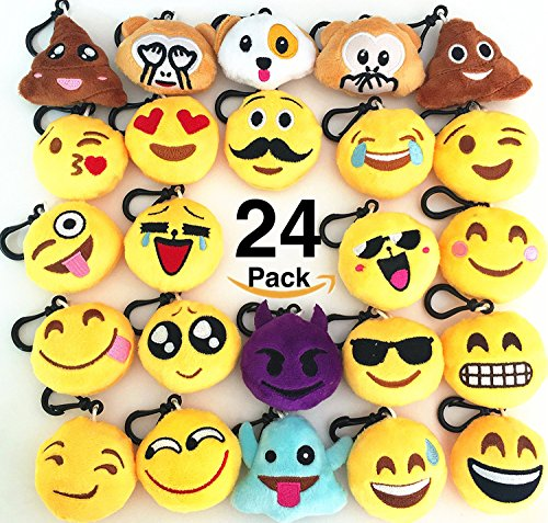 O hill 24 pack emoji plush pillows mini keychain for Decoration emoji