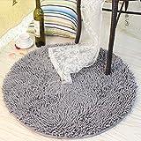 Ustide Grey Round Rug for Boys Soft Shaggy Chenille Rug Non-Slip Absorbent Area Rug Modern Floor Mat