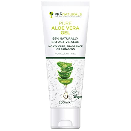 PraNaturals Pure Aloe Vera Gel 200ml, VEGAN CERTIFIED & Made in the UK from Organic 99% Naturally Bio-Active Aloe with No Added Colours, Fragrance or Parabens - Natural, Hypoallergenic, Multipurpose Moisturiser Skin Care Treatment for Sunburn, Dry/Itchy Skin, Eczema, Bug/Insect Bites, Razor Bumps, Acne, Psoriasis, Rashes, Ageing Skin & More - Premium Quality, Non-Greasy Formula, Rich in Vitamins & Minerals, Hydrates & Nourishes Damaged/Irritated Skin (Pack of 1)