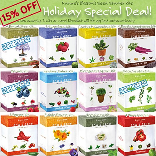 Grow-5-Herbs-From-Organic-Seeds-with-Natures-Blossoms-Herb-Garden-Starter-Kit-Thyme-Basil-Cilantro-Parsley-Sage-A-Complete-Set-W-Everything-a-Gardener-Needs-to-Grow-Culinary-Plants-indoors