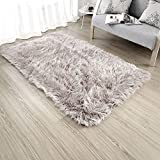 OJIA Deluxe Soft Modern Faux Sheepskin Shaggy Area Rugs Children Play Carpet For Living & Bedroom Sofa (2ft x 3ft, Light Coffee)