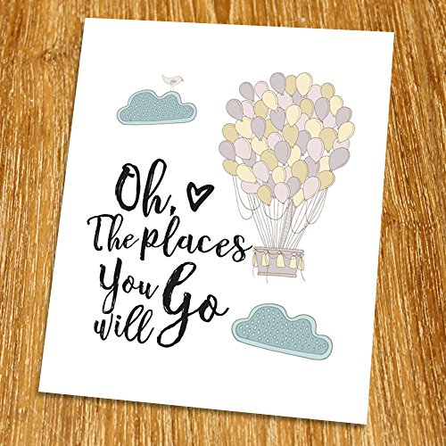 Oh The Places You'll Go Print (Unframed), Motivational Quote, Inspirational Poster, Nursery Decor, Guest Room Decor, Entrance Wall Decor, 8x10