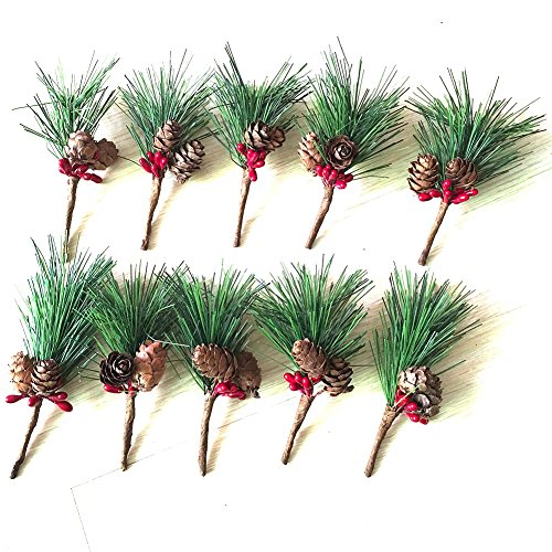 Htmeing Small Artificial Pine Picks for Christmas Flower Arrangements Wreaths and Holiday Decorations (10 pcs)