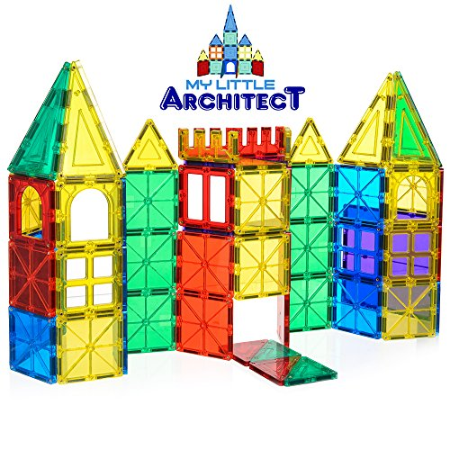 Toy Building Set For Boys : My little architect magnetic tiles for kids piece d