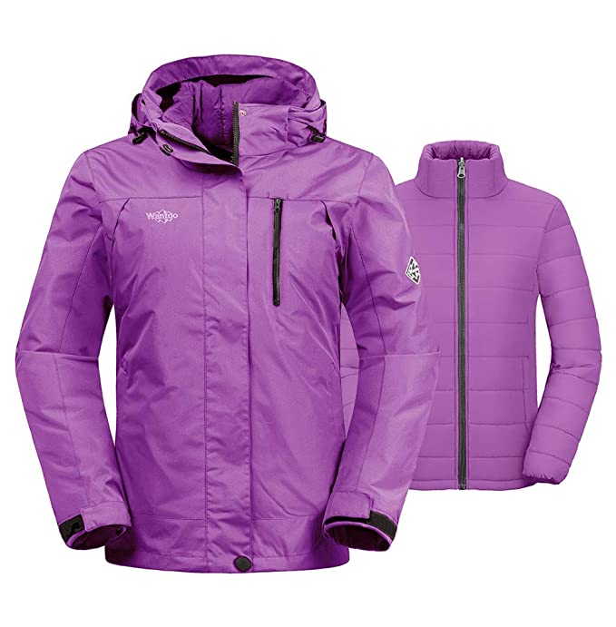 Wantdo Women's Warm 3-in-1 Ski Jacket Insulated Waterproof Short Parka Light Purple M