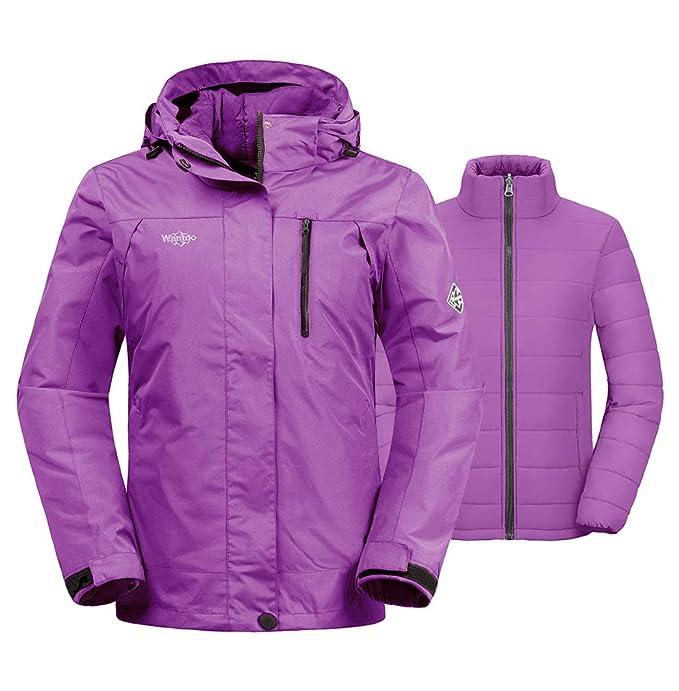 Wantdo Women's Warm 3-in-1 Ski Jacket Insulated Waterproof Short Parka Light Purple M