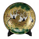 Jpanese traditional ceramic Kutani ware. Decorative Plate with a stand. Gold leaf cranes. With wooden box. ktn-K5-1387