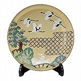 Jpanese traditional ceramic Kutani ware. Decorative Plate with a stand. Shokaku. With wooden box. ktn-K5-1393