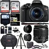 Canon EOS Rebel T6i 24.2 MP DSLR Camera, 18-55mm f/3.5-5.6 STM Lens, Polaroid HD .43x Wide Angle & 2.2X Telephoto Lens, Sandisk 64 GB + 57
