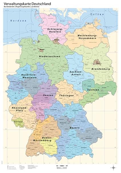 B1 Verwaltungskarte Deutschland Bundesländerregierungsbezirkelandkreise