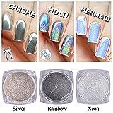 QIMYAR Nail Glitter Neon Chrome Powder Holo Silver Mirror Pigment 3D DIY Laser Rainbow Shiny Dust 3 Bottle