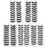50 Pairs 5 Styles Natural False Eyelashes Set Soft Band Fiber Handmade Reusable Fluffy Demi Wispies Fake Lashes