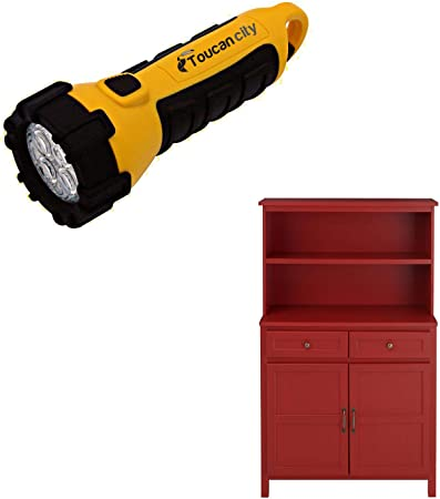 Toucan City Led Flashlight And Stylewell Stylewell Li Red Wood Transitional Kitchen Pantry 36 In W X 58 In H Sk19311ar1 C Amazon Com