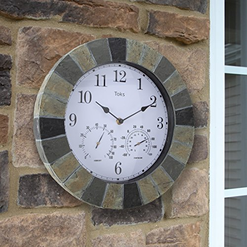 Lilyshome-14-Inch-Faux-Slate-Indoor-or-Outdoor-Wall-Clock-with-Thermometer-and-Hygrometer