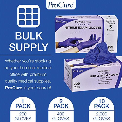 ProCure Disposable Nitrile Gloves – Powder Free, Rubber Latex Free, Medical Exam Grade, Non Sterile, Ambidextrous – Soft with Textured Tips – Cool Blue (Large, 1 Pack, 200 Count) deal 50% off 61zEF0IwrJL