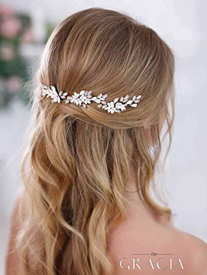 Simsly Bride Flower Wedding Hair Pins Silver Hair Clips Bridal Headpiece Crystal Hair Accessories For Women And Girls Amazon Co Uk Beauty