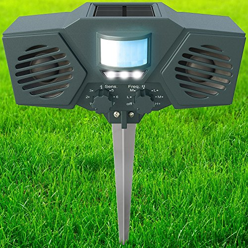 PestZilla Robust Solar Power Ultrasonic Pest Repeller with Flashing LED lights Outdoor Animal and Pest Repeller - Deters Racoons,Squirrels, etc. - Activated with Motion Sensor - [UPGRADED VERSION]