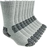 Working Person's 8766 Grey 4-Pack Steel Toe Crew Socks - Made In The USA