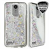 TJS Case for LG Aristo 2/Aristo 2 Plus/Aristo 3/Aristo 3 Plus/Tribute Dynasty/Tribute Empire/Fortune 2/Rebel 3 LTE [Full Coverage Tempered Glass Screen Protector] Glitter Chrome Phone Cover (Silver)