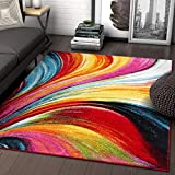 Aurora Multi Red Yellow Orange Swirl Lines Modern Geometric Abstract Brush Stroke Area Rug 8x10 ( 7'10' x 9'10' ) Easy Clean Stain Fade Resistant Shed Free Contemporary Painting Art Stripe Thick Soft