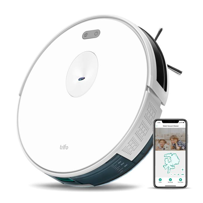 Trifo Ironpie m6+ Robot Vacuum Cleaner with Water Tank, 3 in 1 Mopping &  Sanitizing Vacuum Robot, 1800Pa Strong Suction, Remote Monitoring,  Self-Charging, Wi-Fi Connectivity, Hard Floor to Low-Pile Carpet, White:  Amazon.in: