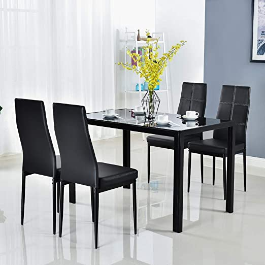 Amazon Com Bonnlo 5 Pieces Dining Set Black Dining Table And Chairs Set For 4 Persons Kitchen Room Glass Table With 4 Chairs Table Chair Sets