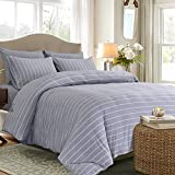 PURE ERA Jersey Knit Cotton Duvet Cover Set with Zipper Closure Super Soft Breathable Comfy Wide Strip White on Grey Queen Size