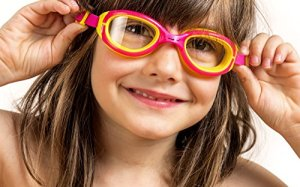 Swim Goggles for Kids (ages 4-12) AqtivAqua Junior with Anti Fog and UV Protection ~ Comfortable and Easy to Use Swimming Goggles for Children Girls Boys (HotPink/Yellow-Frame Clear-Lenses)
