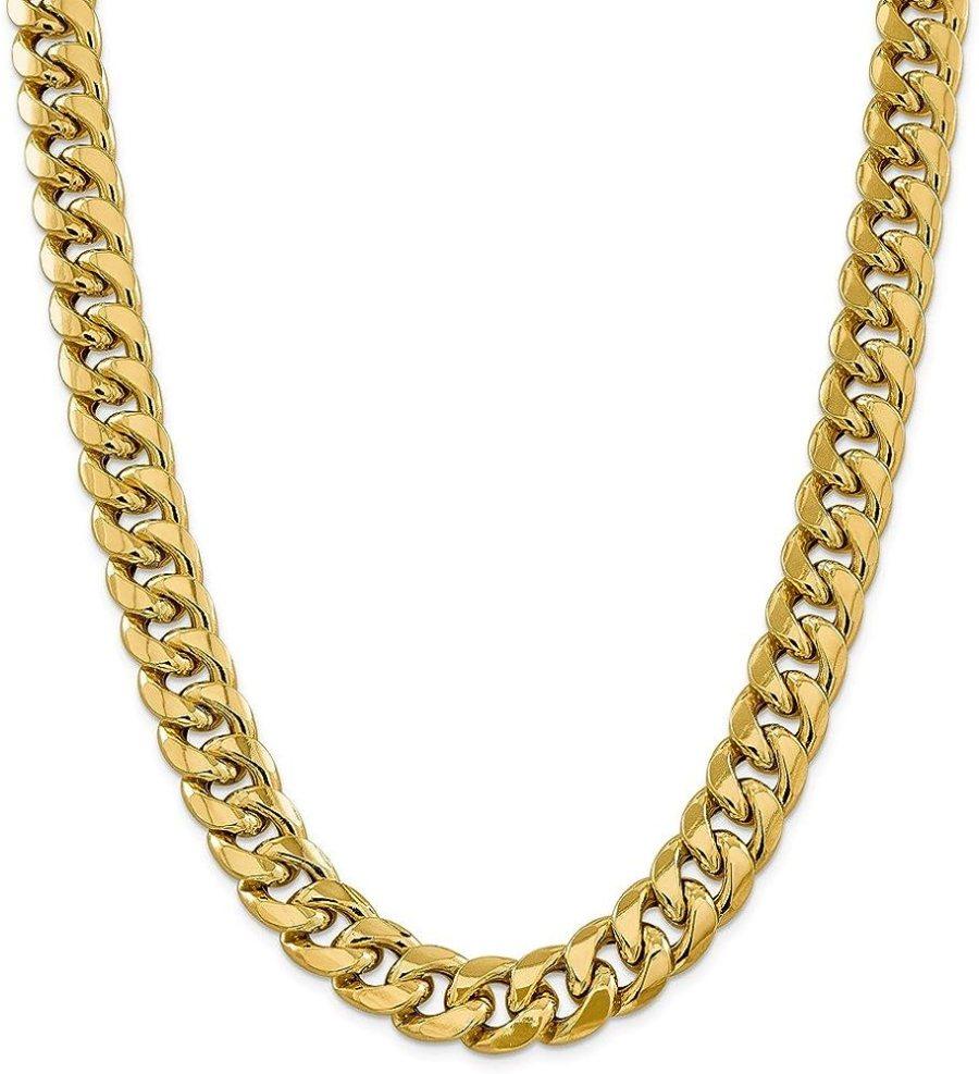Diamond2Deal 14k Yellow Gold 15mm Semi Solid Cuban Bracelet 8 Inch Fine Jewelry for Women