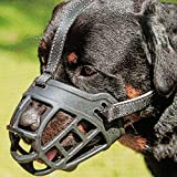 Dog Muzzle,Soft Basket Silicone Muzzles for Dog, Best to Prevent Biting, Chewing and Barking, Allows Drinking and Panting, Used with Collar (3 (Snout 10-12'), Black)