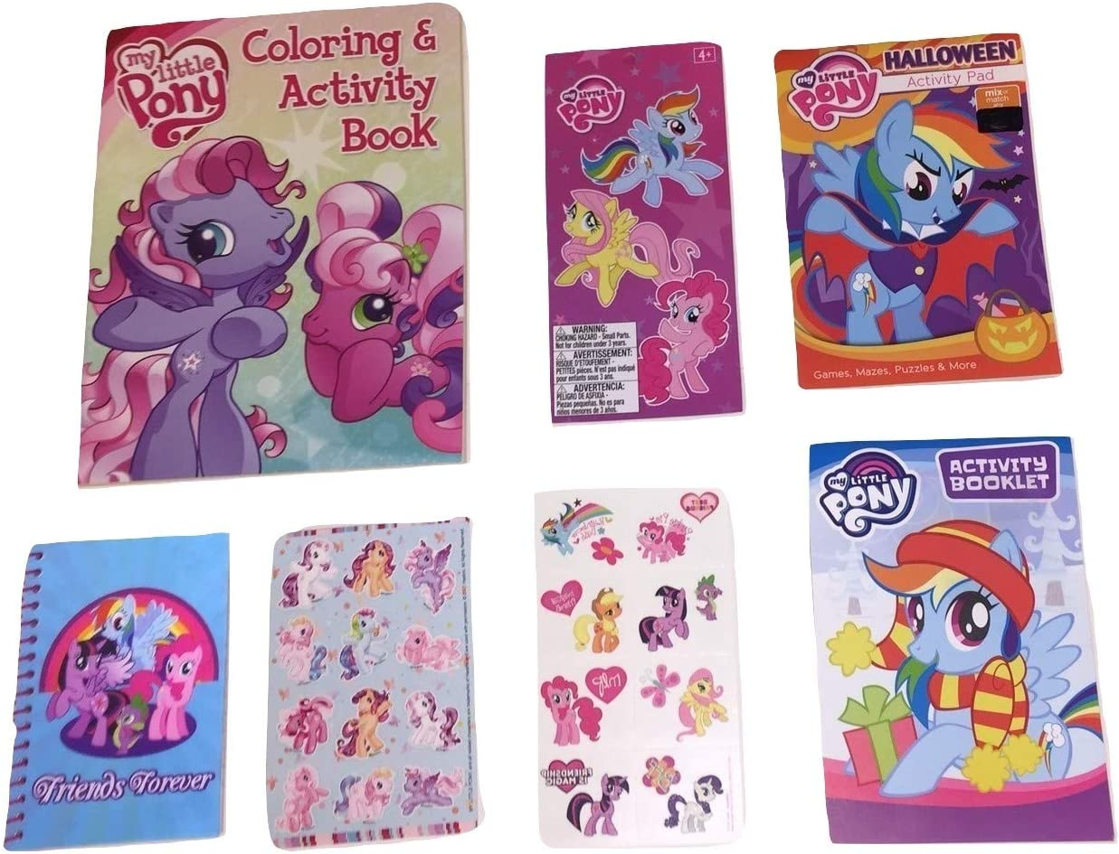 Amazon Com My Little Pony Bundle Of 7 Activity Gift Set Items Pony Friends Forever Coloring Book Halloween And Christmas Activity Pads Tattoos Sticker Sheet And Book Journals Office Products