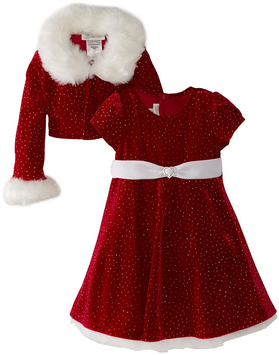 Bonnie Jean Girls Christmas Dress Velvet Sparkle Dress with Jacket