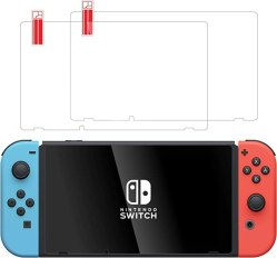 Screen Protector for Nintendo Switch (2 Pack) by TalkWorks - Scratch Resistant Tempered Glass, Easy-Install Ultra-Thin HD Glass Screen Cover Film Back