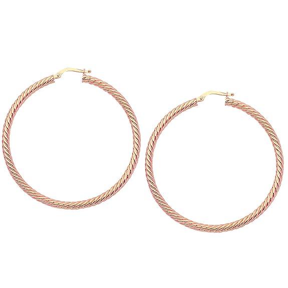 14k Rose Gold Twisted Hoop Earrings, Diameter 50 mm